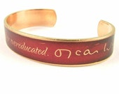 Oscar Wilde's Witty Quote Skinny Cuff Bracelet - Overdressed or Overeducated - Stylish Gifts For Her Wife