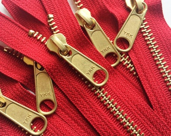 Metal Zippers-Brass Teeth 12 Inch Heavy Duty Ykk Purse Zippers with a Long Handbag Pull Color 519 Red- 5pcs