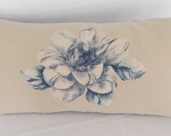 Blue floral pillow, bolster, decorator fabric pillow,