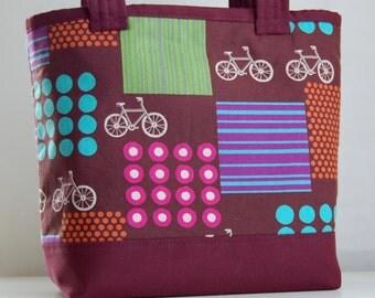 Echino Bikes Burgandy Fabric Tote Bag - READY TO SHIP