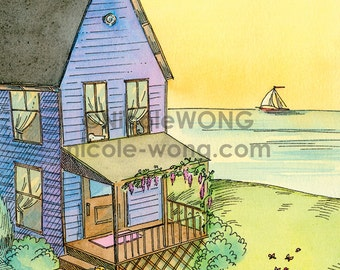 5x7 Print -- Happy little home