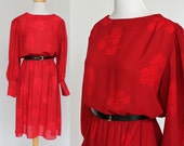 70's Red Disco Dress /  Polyester Dress / Long Sleeves / Skinny Belt / Medium to Large