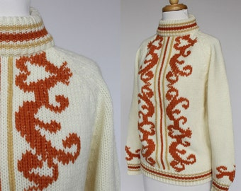 80's Bulky Sweater / Gold & Orange on Ivory / Turtleneck / Donnkenny / Small
