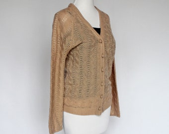 70's  Pointelle Knit Cardigan Sweater / Tan / Small to Medium