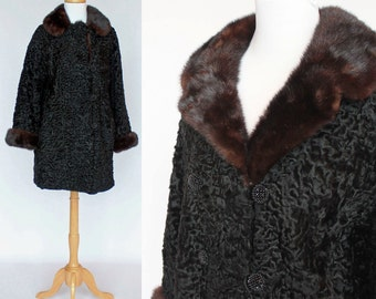 60's Persian Lamb Jacket / Dark Mink Collar & Cuffs / Double Breasted / Small to Medium