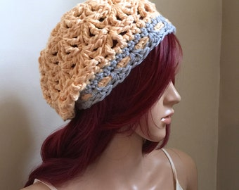 The Millennial All-Season Slouchy Beanie  - Crocheted in Exclusive 100 pct Cotton in Gray and Soft Yellow