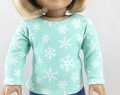 """American Made Doll Clothing For 18"""" Dolls Handmade T Shirt Cotton Knit Top  Snowflake Print Mint Green and White"""