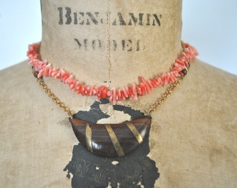 2 Choker Necklaces / beach shells  and wood bead
