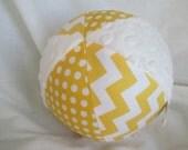"Baby Toy Cloth Jingle Ball LARGE 7"" Yellow Chevron"