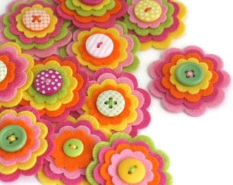 TUTTI FRUITTI x 3 Felt Flower Embellishments, Felties, Handmade Flowers, Felt Flower Applique, Felt Embellishment, Felt Wedding Flowers