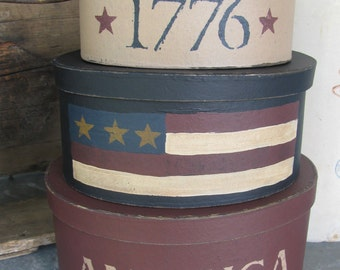Primitive America Flag 1776 Hand Painted Oval Set of 3 Stacking Boxes GCC3859