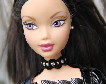 Beaded Black Lace Gothic Choker Doll Necklace and Earring Set 11 1/2 - 12 inch 1/6th Scale Fashion Dolls