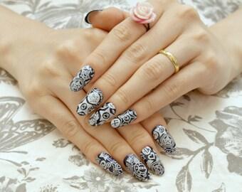 Almond nail, oval nail, press on nail, navy, blue, cosplay, Sailor, moon, princess, anime, kawaii, magical girl, Japanese, nail art,