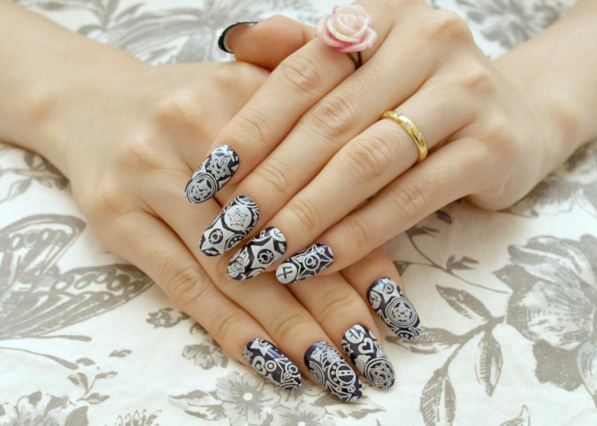 Almond nail, oval nail, press on nail, navy, blue, cosplay, Sailor ...