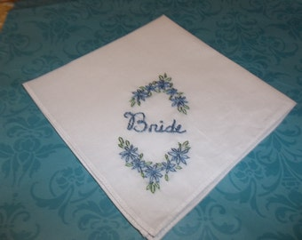 Something blue wedding handkerchief, hand embroidered, READY TO MAIL, bouquet wrap,  other colors welcome, laceless hanky