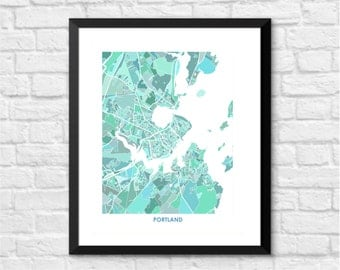 Portland Maine Art Map Print.  Color Options and Size Options Available.  Map of Portland Maine.