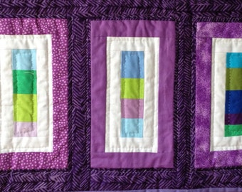 Purple Rectangle and Square Table Runner