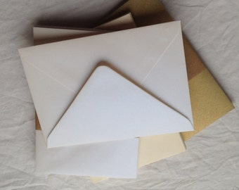 Envelopes - C6 - Pearlescent - Ivory - White - Gold - Journalling - Scrapbooking - Cardmaking