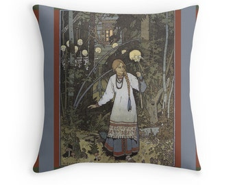Vasilisa the Beautiful - Tales from Baba Yaga, Art Nouveau Throw Pillow, Russian Folklore, Fairy Tales Throw Pillow