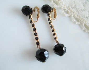 Vintage Signed Black Crystal Glass Long Dangle Rhinestone Chain Earrings Vogue
