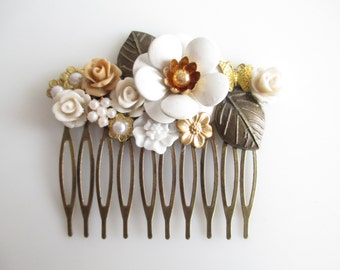 Assemblage Cluster Collage Hair Comb Rustic Woodland Flower Garden OOAK