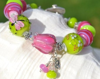 HUES of HAPPINESS-Handmade Lampwork and Sterling Silver Bracelet