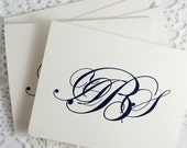 Monogrammed Stationery Personalized Stationary Blank Notes Navy on Cream Thank You Cards by Lime Green Rhinestones