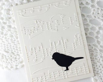 Songbird Note Cards Embossed Stationery with Music Notes Black on Cream Blank Note Cards by Lime Green Rhinestones