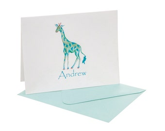 Giraffe Personalized Fold Over Note Cards (Quantity 24)