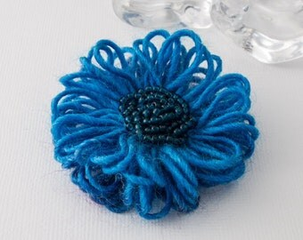 Blue Beaded Flower Brooch