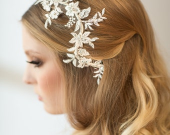 Wedding Hair Vine, Bridal Lace Headpiece, Bridal Hairpiece, Lace Headpiece, Wedding Lace Hair Comb