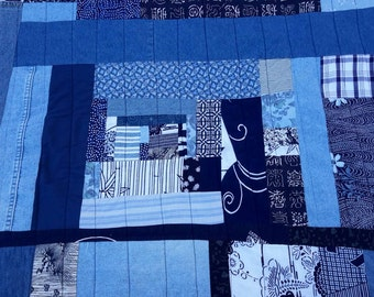 Boro Quilt Japanese Indigo Bed Roll Footer Sized Art Textile by artdesignsbydanielle