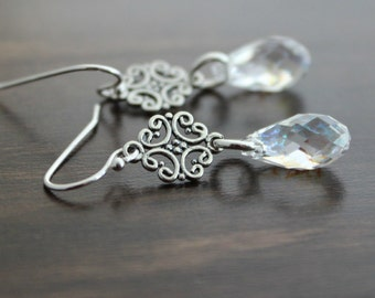 Crystal White Patina Swarovski Crystal Teardrop Earrings, Sterling silver swirl connecters, Icicles, Winter Earrings, Sparkling Jewelry