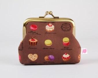 Frame purse - Petites Patisseries on taupe - Big Aunty / Macaron cake / lime green purple chocolate brown cream fuchsia pink / kawaii chic