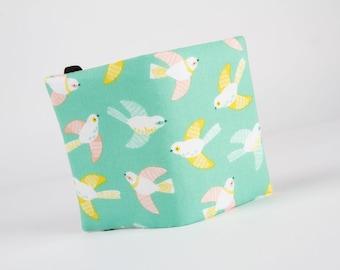Fabric card holder -  Cuckoo's Calling Cuckoo Teal / Seafoam mint green / peach pink / mustard yellow / Little birds