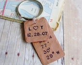 Latitude Longitude Keychain,Copper Gift,Hand Stamped,GPS Coordinates,Custom Initials,Personalized Date,Seventh,7 Year Anniversary, Mens Gift