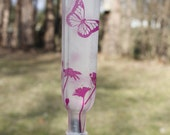 NEW HOT PINK Etched Butterflies and flowers hummingbird feeder