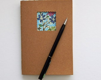 Purple Flowers Notebook with Cream paper - 6x4 ins - Mother's Day Gift