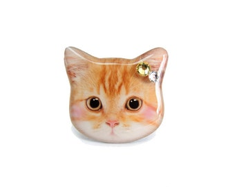 Cute Orange Cat Kitten with Blush Ring - A0010-R C26 Made to Order