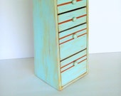 Wood jewelry box four drawer turquiose painted shabby chic distressed finish