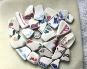 AWESOME BEACH GLASS Pottery Shards In An Array Of Sizes, Patterns And Colors zy911