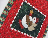 Quilted Christmas Mug Rug Angel Snowman Holly Red Green