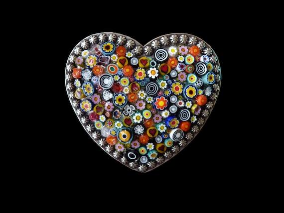Italian Millefiori Heart Shaped Belt Buckle