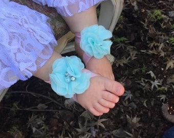 Barefoot sandal for infant baby chiffon flower sandal Take me Home outfit