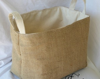 Rustic Burlap Basket- Container- Organizer- Storage Bin- Fully Lined- Burlap and Canvas- Fabric Basket