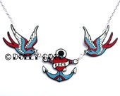 Swallow Necklace with Ahoy Anchor by Dolly Cool Sparrow Rockabilly 50s Blue Red Nautical
