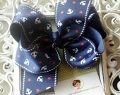 INVENTORY BLOWOUT SALE-----Simple Large 4 Inch Hair Bow----Anchors Away----Navy Blue----Ready to Ship----