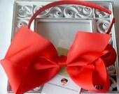 INVENTORY BLOWOUT SALE----Hair Bow U-Shape Satin Headband----Red----Ready to Ship----