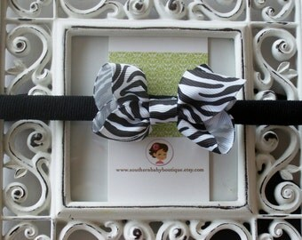 New Item----Boutique Baby Girl Hair bow Dainty Headband-----Zebra----Makes a Perfect Gift