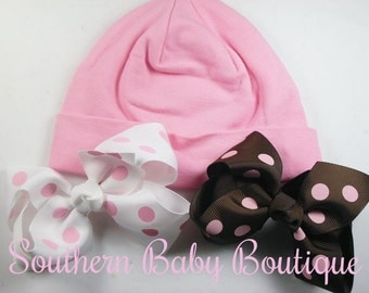NEW----Boutique Hospital Pictures Baby Girl Knit Beanie Cap with Hairbow Clips 3 Pc Set----Chic Pink----Fits 0-6 Months